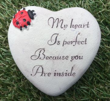 8cm Garden Grave Stone My Heart is Perfect Because You are Inside with LADYBIRD